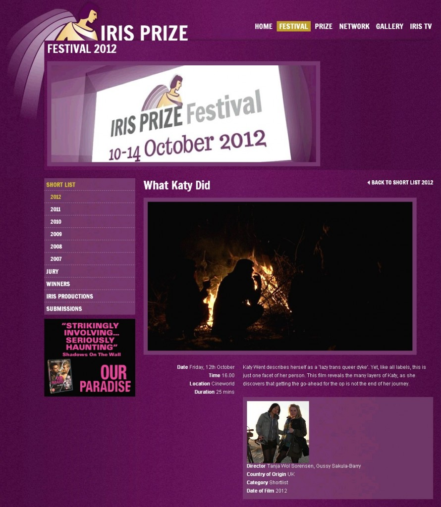 What Katy Did, Iris Prize Shortlist 2012, Katy Jon Went film, Gussy Sakula-Barry,Tanja Wol Sorensen