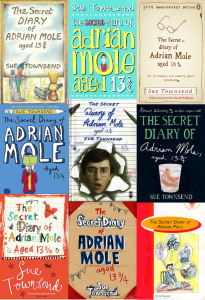 Adrian Mole Secret Diary Sue Townsend book cover montage