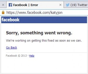 Facebook down error