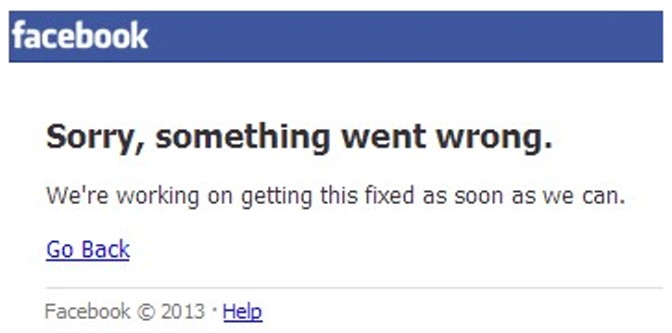 Facebook error, Sorry, something went wrong – Life without Facebook