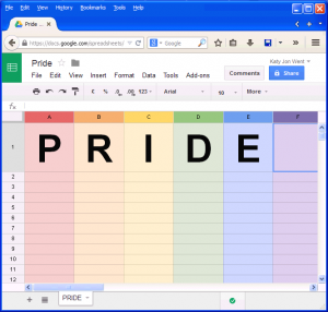 Google Docs PRIDE Rainbow colors SpreadSheet
