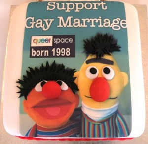 QueerSpace Belfast Support Gay Marriage cake