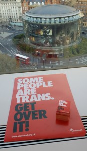"Stonewall office view ""Some people are Trans"""