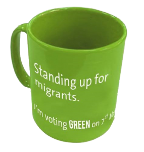 Green Party Standing Up For Migrants mug