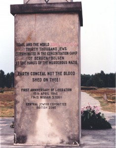 Bergen-Belsen First Anniversary of Liberation, Central Jewish Committtee monument, 15 April 1946 © KatyJon