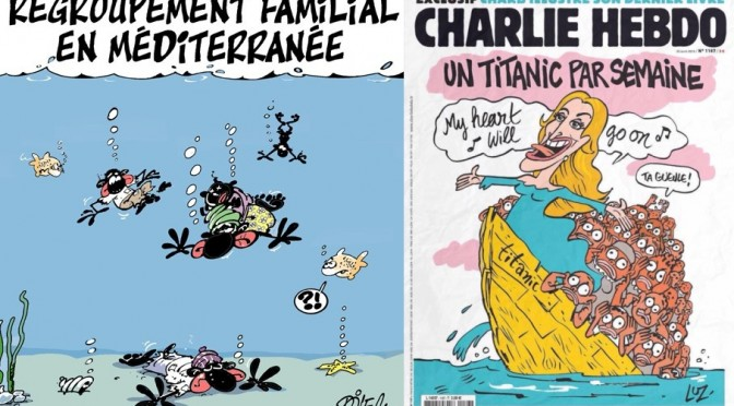 Satirical Cartoons and Mediterranean Migrants, Ali Dilem, Charlie Hebdo