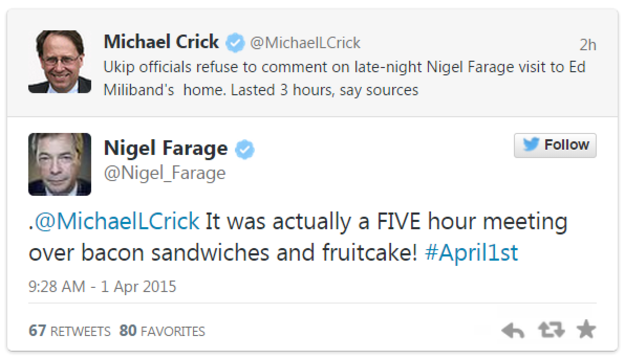 UKIP Twitter April Fools Nigel Farage Michael Crick Ed Miliband