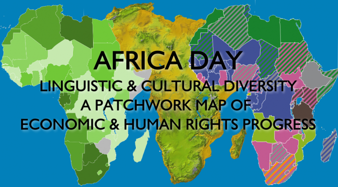 Africa Day 2015 - African language diversity economic progress map