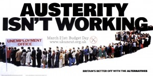Austerity isn't working UK Uncut poster 2012