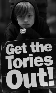 "Kids who can't vote yet say ""Get the Tories Out"""