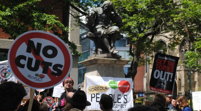 Norfolk People's Assembly Anti Austerity Protest Rally, 30 May, Norwich UK