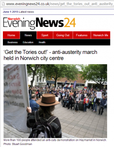 Norwich Evening News covers NPA Anti Austerity Rally