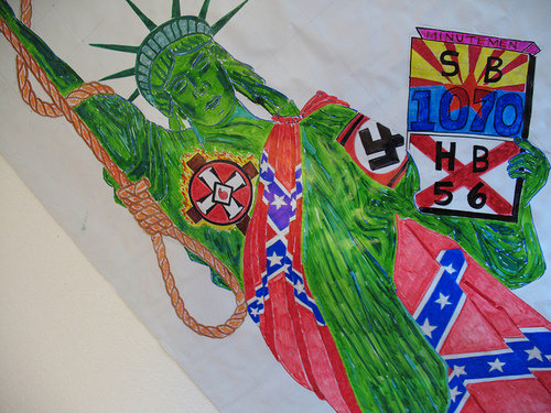 Confederate Flag draped Statue of Liberty