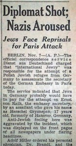 Diplomat Shot - Nazis Aroused, The Detroit Free Press, November 8, 1938