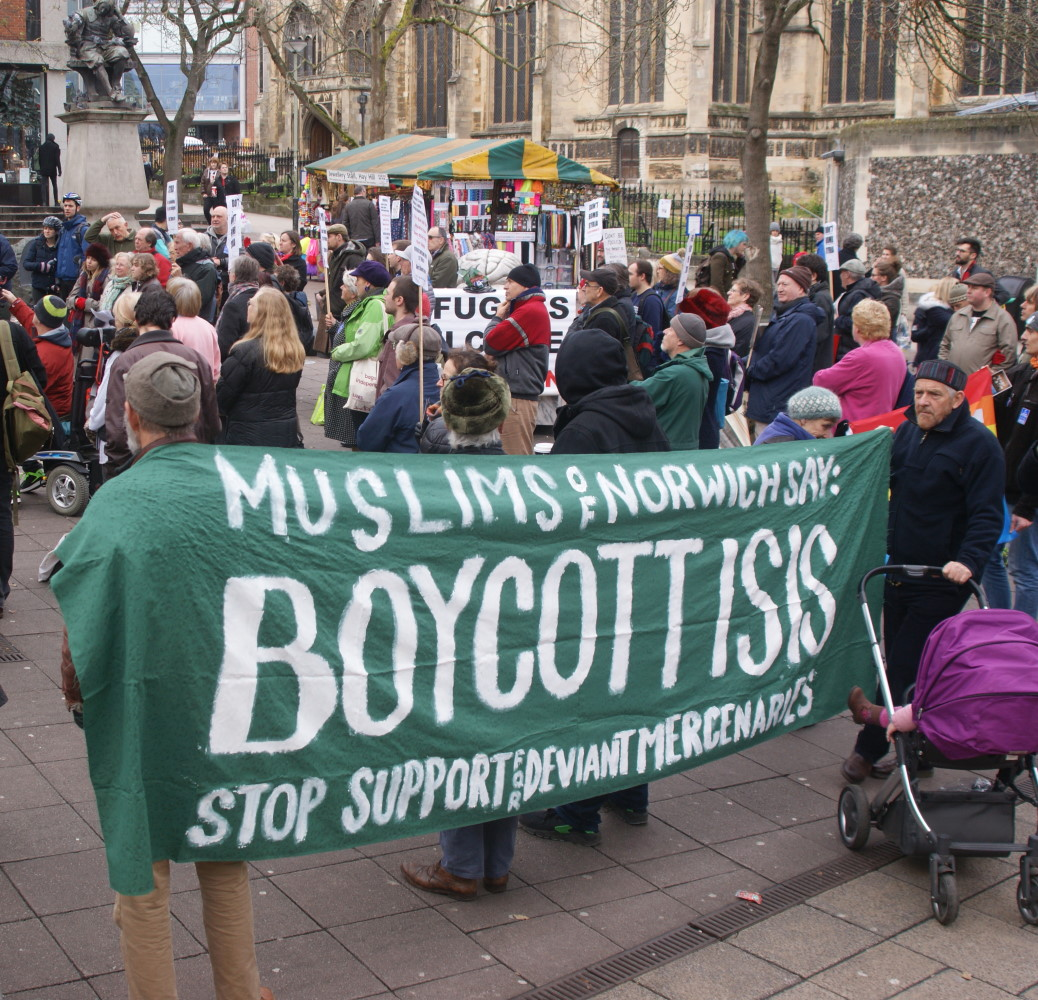 Don't Bomb Syria Rally, Norwich, 28 November 2015 photo by Katy Jon Went