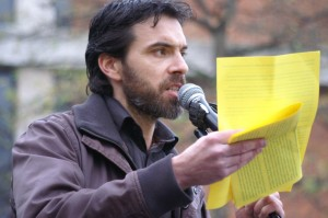 Muhammad Ameen Franklin speaking at Don't Bomb Syria Rally, Norwich, 28 November 2015 photo by Katy Jon Went