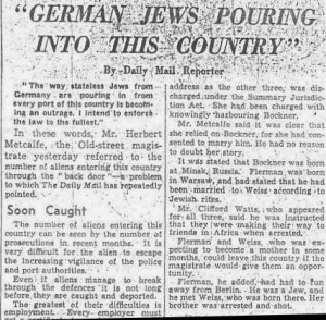 German Jews Pouring into this country, Daily Mail, 1938
