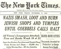 Nazis Smash, Loot and Burn Jewish Shops and Temples, New York Times, Nov 11 1938