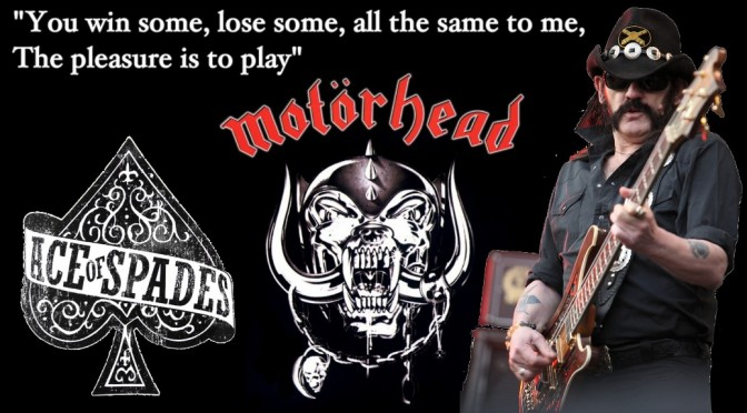 Lemmy of Motorhead and Hawkwind draws Dead Man's Hand Ace of Spades