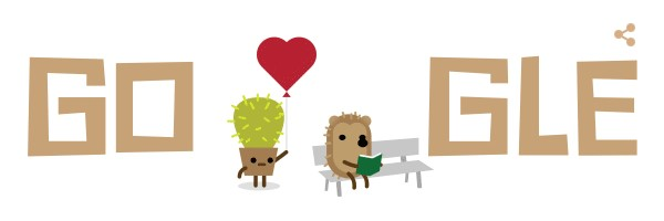 St Valentines Day 2016 Google doodle cactus and hedgehog