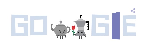 St Valentines Day 2016 Google doodle teapot and coffeepot
