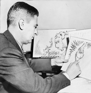 Dr Seuss at work on a drawing of The Grinch for How the Grinch Stole Christmas, 1957