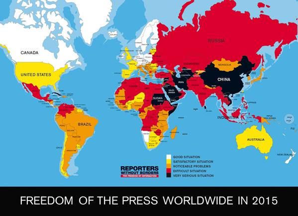 Freedom of the Press around the World 2015 RSF