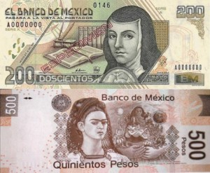 Frida Kahlo and Sor Juana Inés de la Cruz on Mexican currency notes