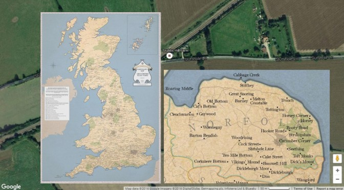 ST&G's Map of Naughty, Rude or Silly Place Names in Norfolk and the UK