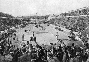Spiridon Louis entering the Athens Olympic stadium at the end of the 1896 marathon
