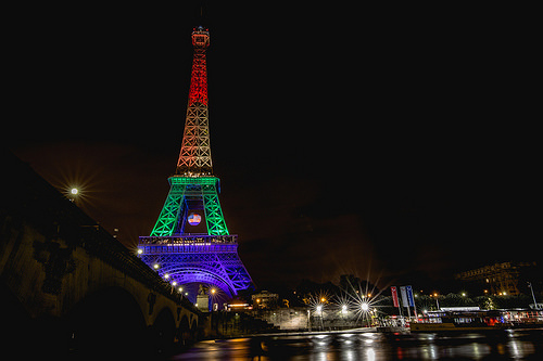 Orlando shooting Rainbow lit Eiffel Tower Paris