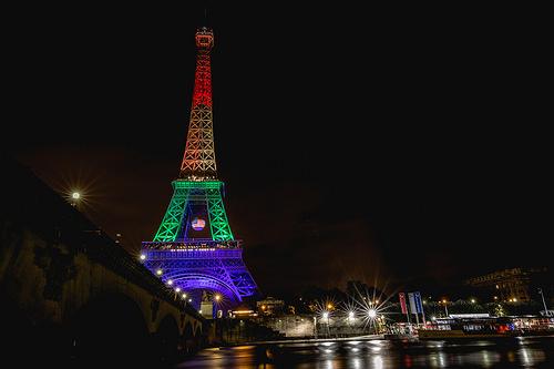 Orlando shooting Rainbow lit Eiffel Tower Paris