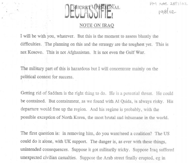 Chilcot Inquiry on the Iraq War: Tony Blair note to George Bush, 2002