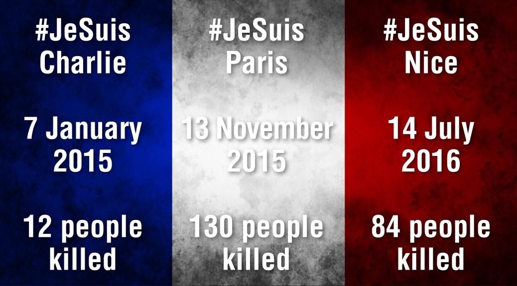 French flag 3 terror attacks, Charlie Hebdo, Paris Bataclan, Nice