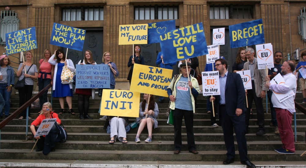 Pro-Europe banners at Norwich Stays anti-Brexit rally