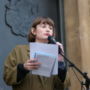 Rebecca Tamás organiser and speaker at Migrants Rally, 12 July 2016