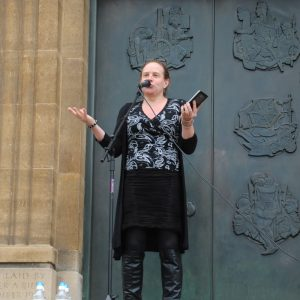 Katy Jon Went speaking at Norwich Solidarity With Migrants Rally, 12 July 2016