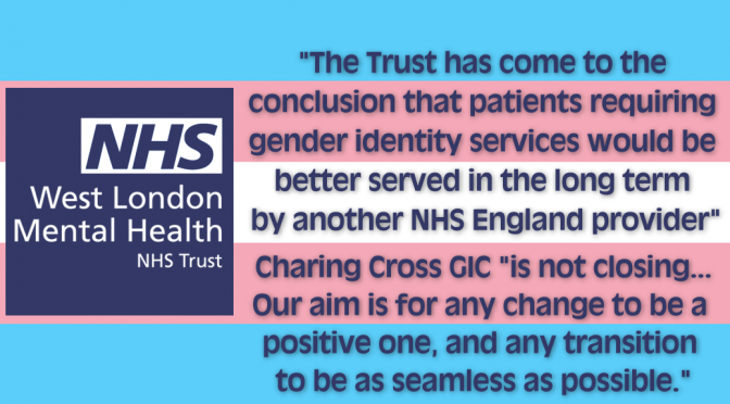 WLMHT to let go of Charing Cross Gender Identity Clinic NOT to close it
