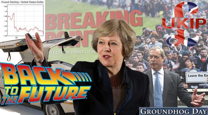 Political Dystopia as UK living in Groundhog Day & Back to the Future era