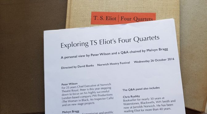 TS Eliot Four Quartets, Exploration with Peter Wilson, Melvyn Bragg & more