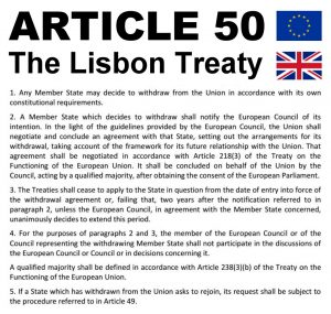 Article 50 The Lisbon Treaty of the EU