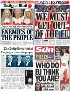 Brexit High Court ruling newspaper response 4 Nov 2016