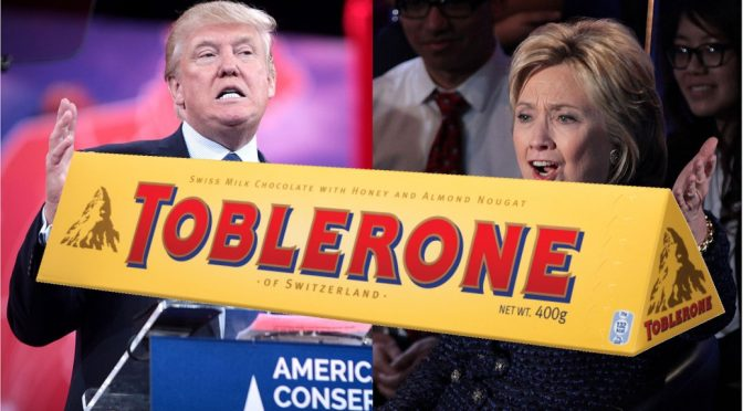 Donald Trump, Hillary Clinton US Election Day but Toblerone is trending