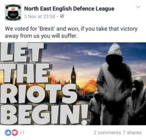 North East English Defence League Brexit Riots