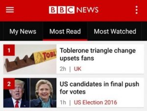 Toblerone trending on BBC news