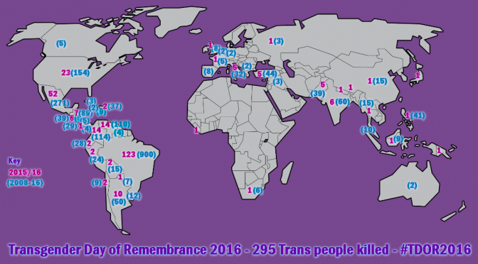 Transgender Day of Remembrance – 295 Trans murders #TDOR2016