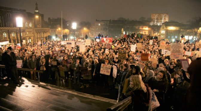 Norwich protests Donald Trump selective Muslim Ban, welcomes Refugees