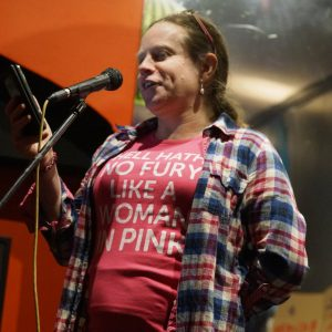 Reading poetry at Reclaim the Night
