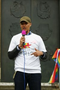 Clive Lewis MP speaking at Norwich LGBT Chechnya protest