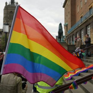 Norwich City Hall LGBT Chechnya protest